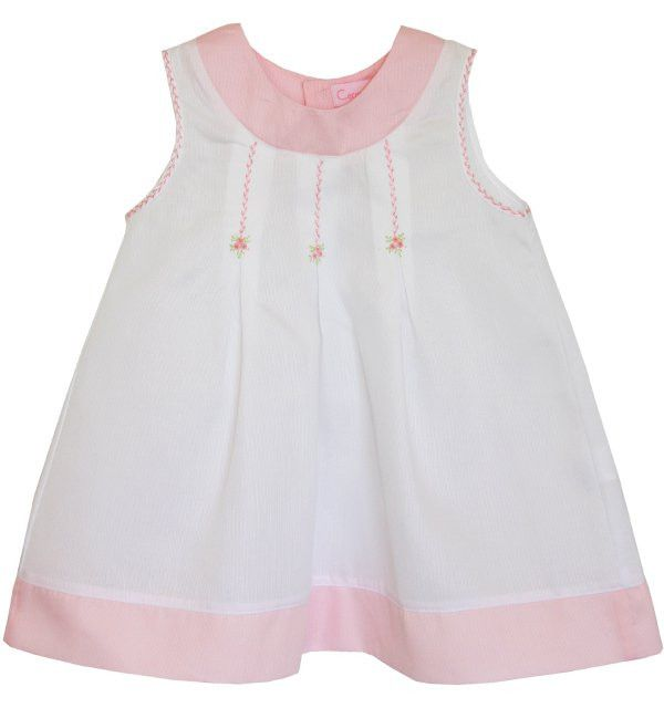 Fine white and pink embroidered girls dress – Carousel Wear