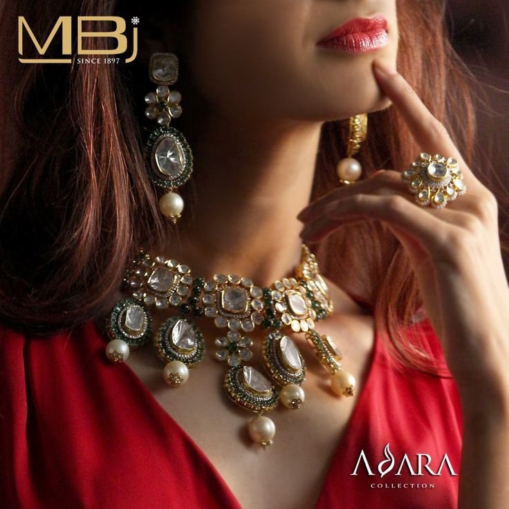 Bridal polki choker set and ring with emeralds & pearls from ADARA collection of MBj.