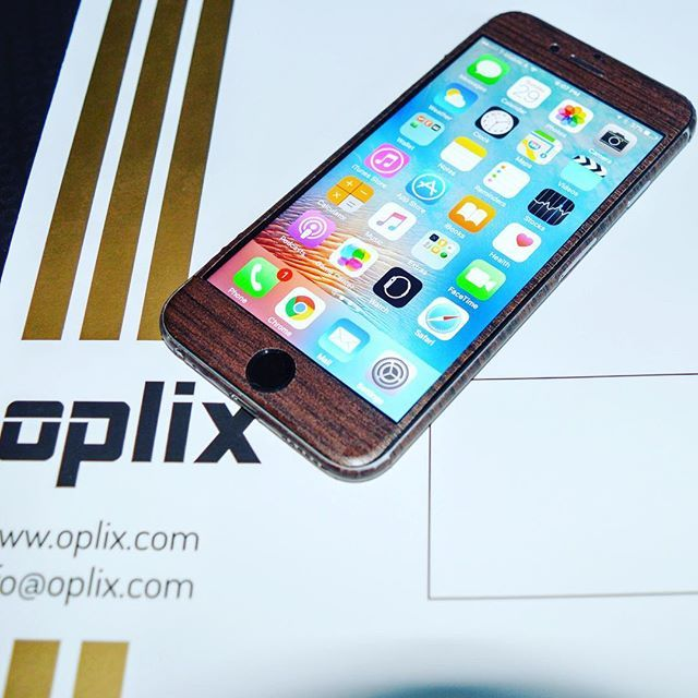 #wooden #oplix #skin on #iphone #6s front