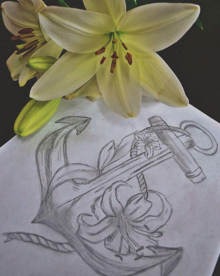 By Irina Vinogradova  Flower anchor art drawing black sketch dotwork