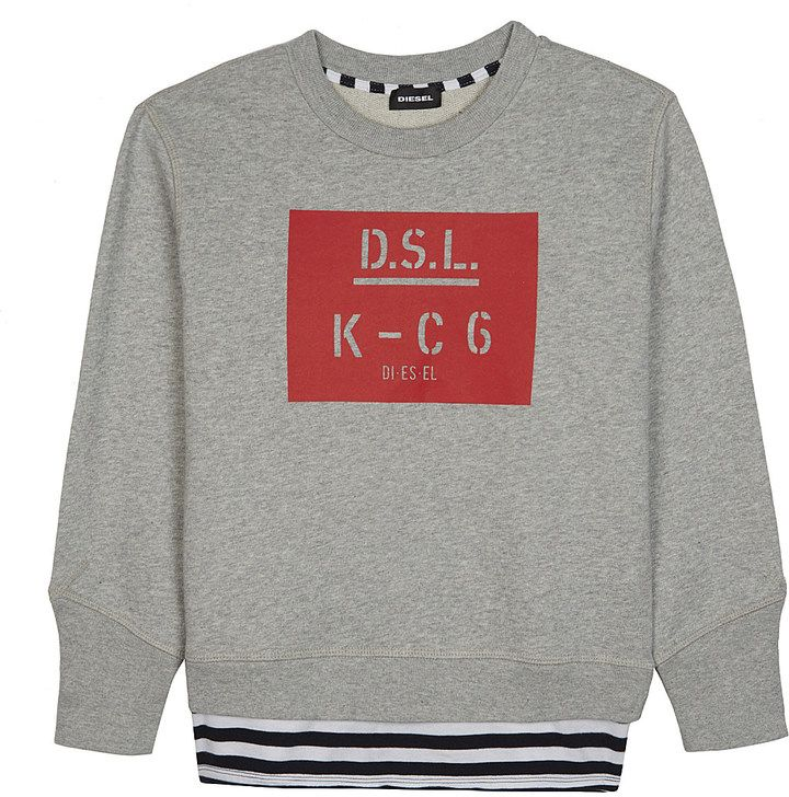 DIESEL D.S.L. logo cotton jumper 6-16 years