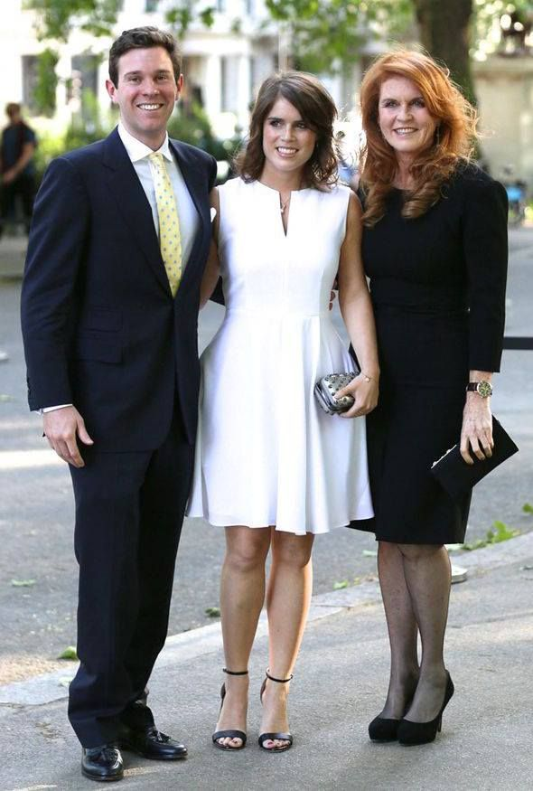 Princess Eugenie with her boyfriend Jack Brooksbank, and her mother Sarah, Duchess of York.