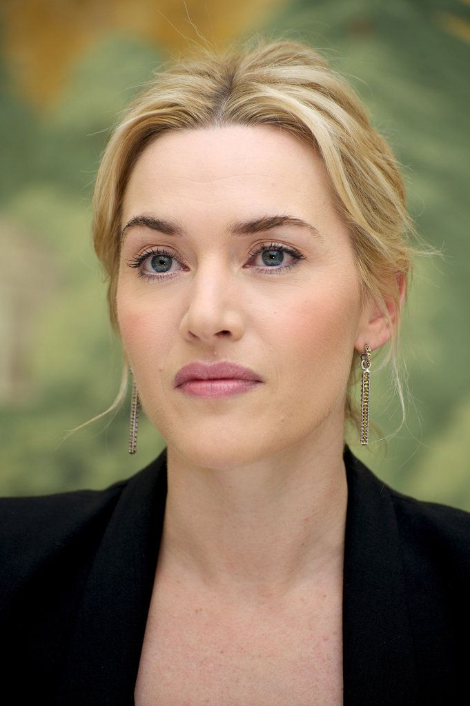 Kate Winslet, a Warm autumn w/ lightened hair and cool pink lipstick (looks like M.A.C private party) | beautiful makeup, nice swept up hairdo