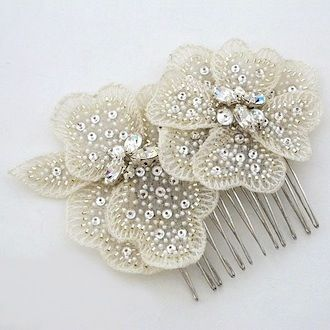 Laura Jayne Bridal, hair accessories. A duet of soft embroidered flowers adorned with beads & sequins create a vintage hair comb. Code: C3078 Price: $113.00
