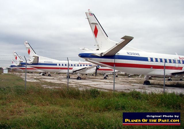 American Eagle Airlines Saab 340 airliners ... some with tail sections and engines removed, in storage in Abilene, Texas