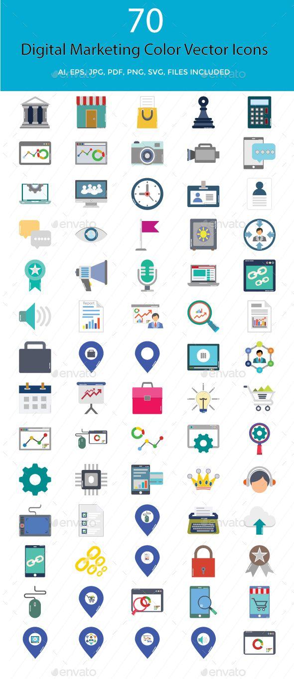 Digital Marketing Color Vector Illustration Icons Marketing Colors Digital Media Logo Digital Marketing