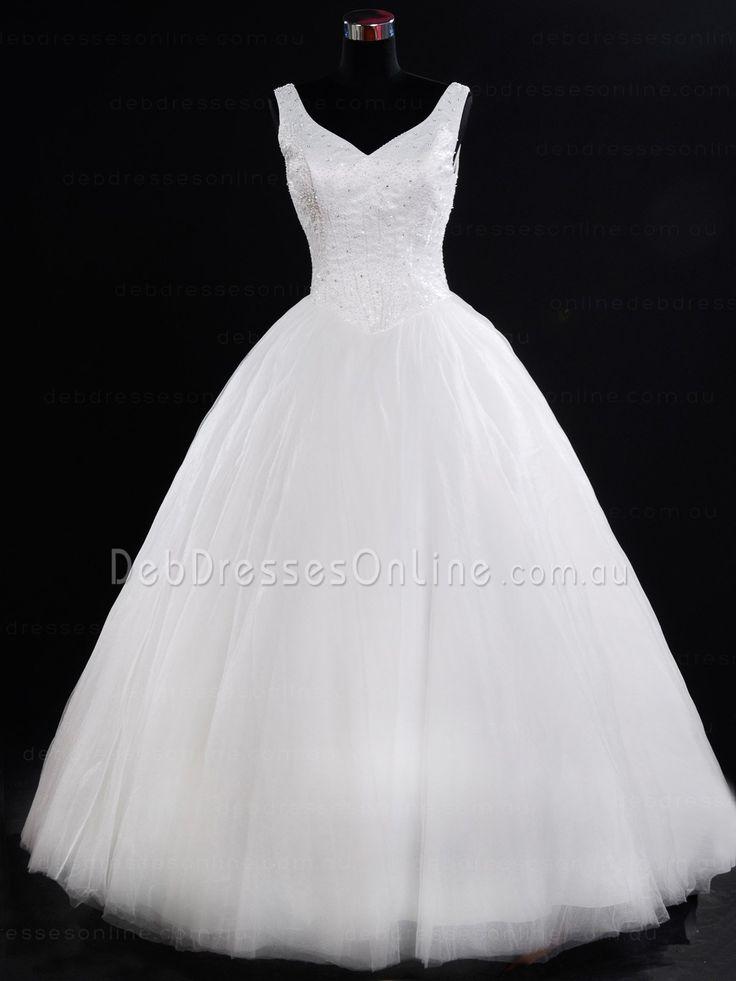 Princess Cut V Neckline Tulle Debutante Dress - Dennise