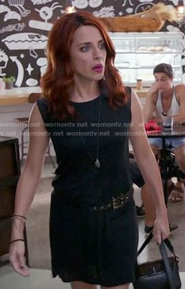 Jo's black dress with leather shoulders on Girlfriends Guide to Divorce.  Outfit Details: https://wornontv.net/55737/ #GG2D