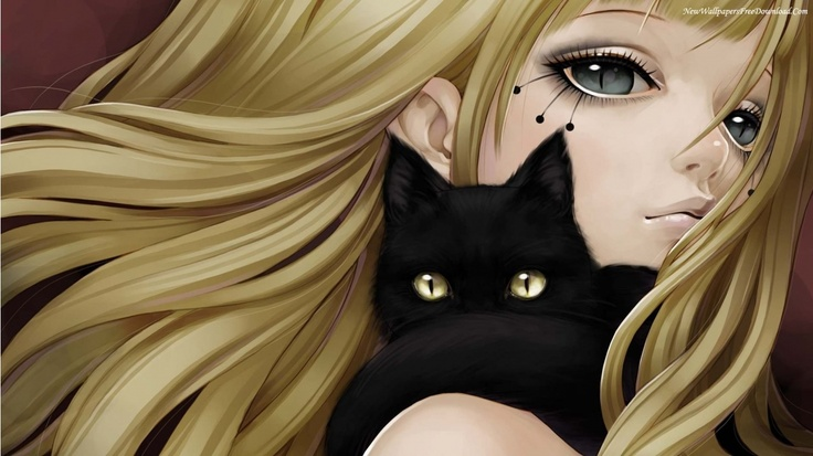 Anime girl and black cat happiness pinterest cats