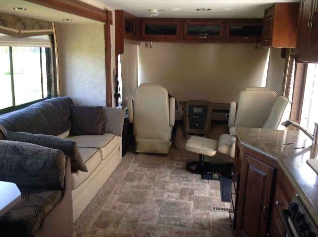 """2013 Used Forest River Georgetown 350TS Class A in Pennsylvania PA.Recreational Vehicle, rv, REDUCED !!! 2013 Forest River Georgetown 350TS, 2013 Georgetown XL350TS Vin# 1F66F5DY8C0A05086. The Motorhome has 24,250 miles on it. The Color is Latte Decor with Carmel Countertops. This Bunk House RV measures 36' 2"""" & features 3 slide-out rooms with slide toppers. Optional equipment includes beautiful partial paint, stainless steel package which includes a residential refrigerator, stainless steel…"""
