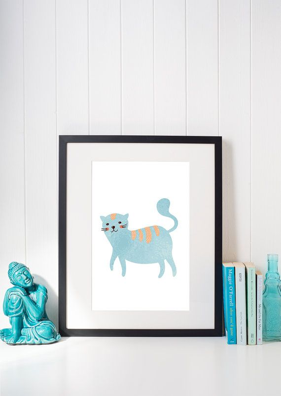Funny Fat Cat Printable Poster / Nursery A3 Poster / Kids Room Poster / Cat Lovers Poster / Blue Cat Wall Art