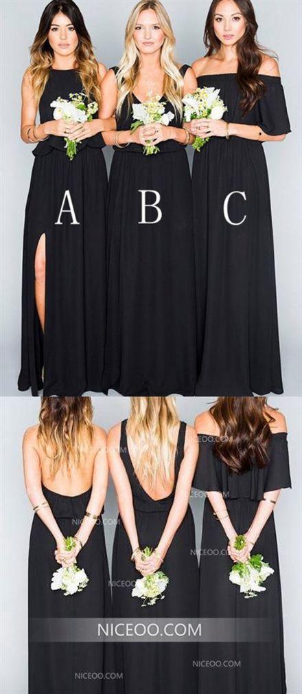 9ebb1ee42768 Elegant Black A Line Three Styles Empire Waist Chiffon Long Bridesmaid  Dresses Evening Dresses #Empire