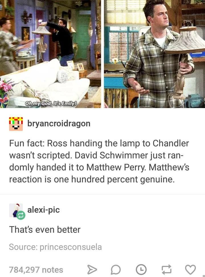 "Okay. So what gets me about these posts is the whole ""genuine reaction"" thing. Like no. He's a professional, comedic actor. Yeah, it wasn't scripted, but that doesn't mean he dropped out of character and gave a ""genuine"" reaction. More than likely, he improved, just like Schwimmer *improved* with the lamp. It's still awesome, but the ""genuine"" thing just bugs me. Lol *steps off soap box*"