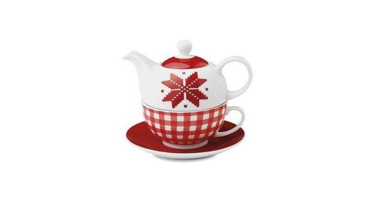 Juego de té con diseño estilo nórdico. Consta de Tetera, taza y plato.