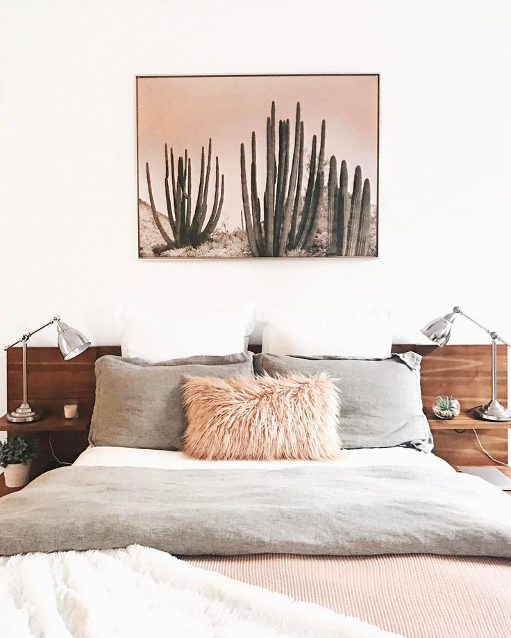 Soft Hits Of Pink In This Bedroom. I Love The Cactus Wall Print With The  Blush Sky Over The Bed.