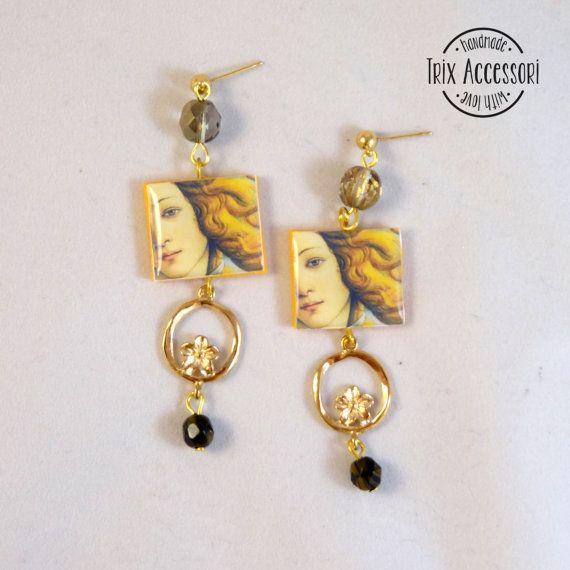 """Pendant Earrings """"Venere"""", art, Handmade Earrings, polymer clay, mosaic, resin, Botticelli, tile, born, venus, modern, renaissance, gold"""