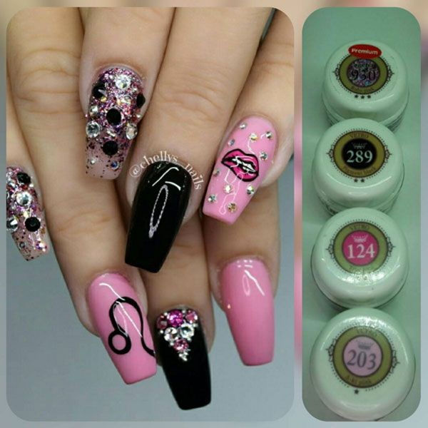 37 best night out nails images on pinterest nail art night and pink and black hot lips nail art by chellysnails see the full nail art prinsesfo Choice Image
