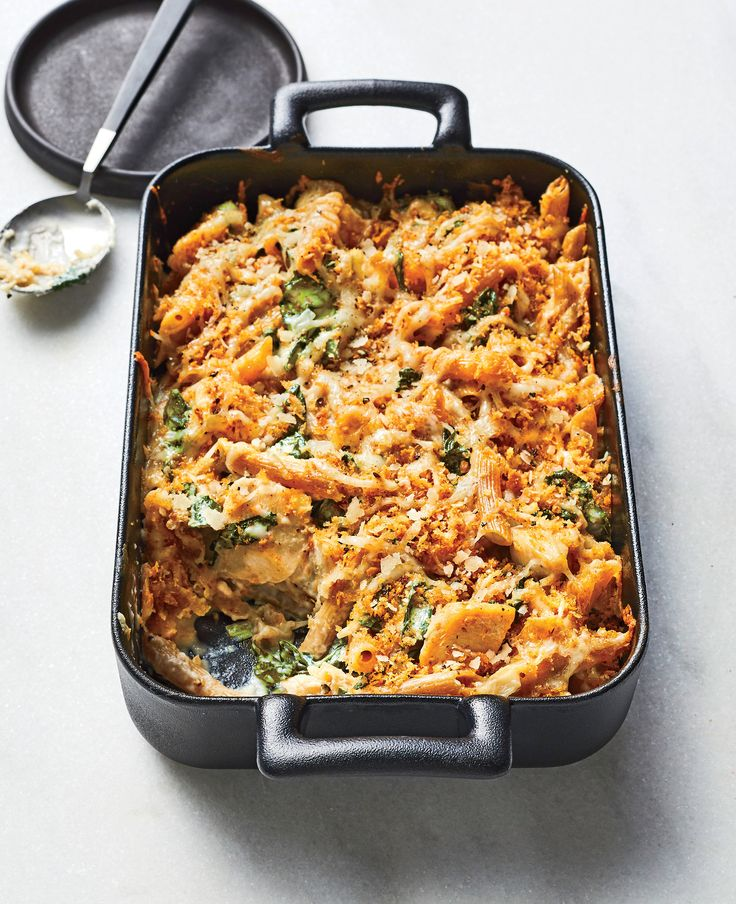 Chicken-and-Kale Alfredo Bake   A creamy, Parmesan-laced sauce is a no-brainer for an easy, cheesy pasta bake. Skip the jar and make your own with sautéed shallot and fresh lemon, picking up all the flavor from the same pan used to cook the chicken. If you have yet to try whole-grain pasta, this dish is a fantastic introduction: The noodles hold up nicely throughout boiling and baking and won't overwhelm the dish with a strong wheat flavor. Keep whole-wheat panko in your pantry as your new