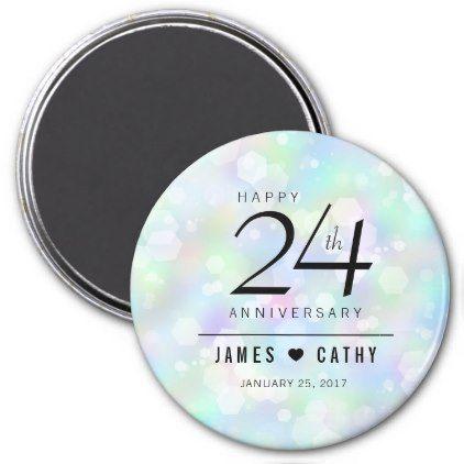 Elegant 24th Opal Wedding Anniversary Celebration Magnet - confetti wedding marriage party gift idea diy