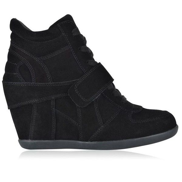 Ash Bowie Wedge Trainers ($220) ❤ liked on Polyvore featuring shoes, sneakers, black, black leather sneakers, black leather shoes, black leather high tops, ash sneakers and black hi top sneakers