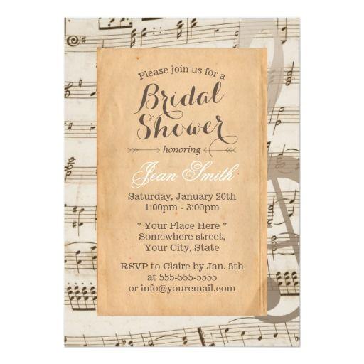 Vintage Sunflower U0026 Old Music Sheet Baby Shower Paper Invitation Card