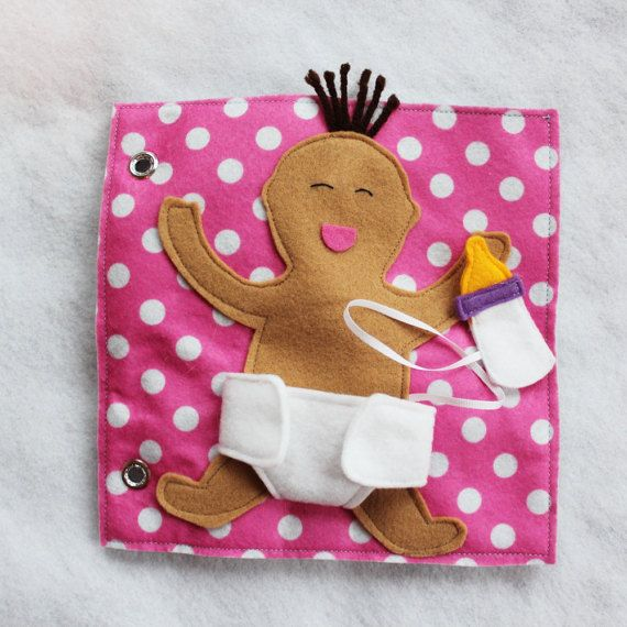 """Custom Hand-Crafted Quiet Book Page- """"Diaper the Baby"""" - Single Page to Expand Your Personalized Quiet Book"""