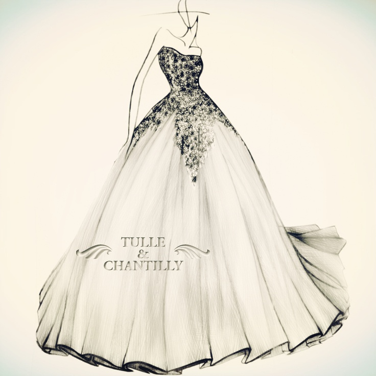 Best 25+ Tulle & Chantilly Fabulous Wedding Dress Sketches