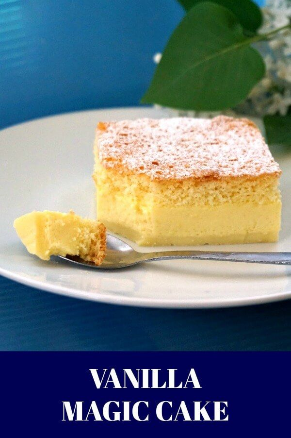 Vanilla Magic Cake, a delicious 3-layer dessert that uses only simple ingredients that can always be found in your pantry. Super simple to make, this is definitely the cake of all cakes. #vanilla #cake #magiccake, #dessert #dessertrecipes