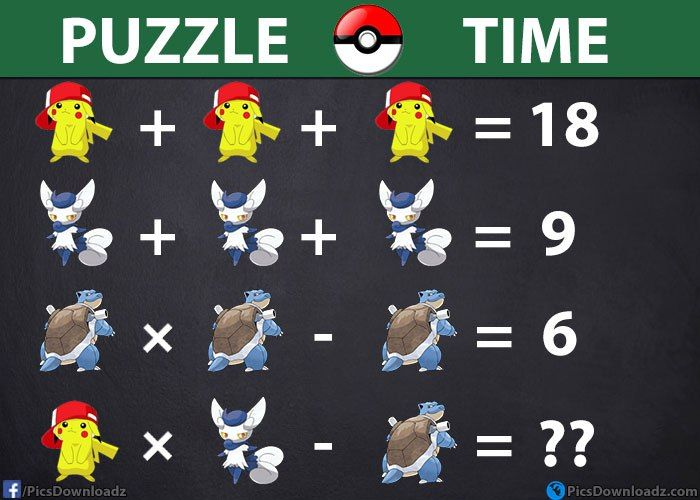 Find the solution of these Pokemon's monsters - Genius Brainteasers & Math Puzzles - http://picsdownloadz.com/puzzles/solve-these-pokemon-monsters-genius-brainteasers-math-puzzles/