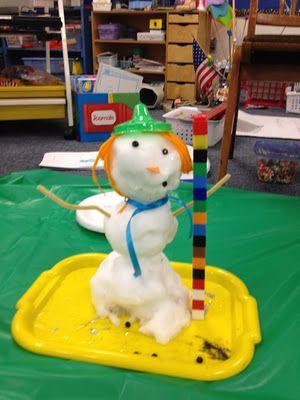 de sneeuwman smelt. De kinderen kunnen door middel van de telblokjes ernaast( Unifix) zien hoeveel hij smelt.