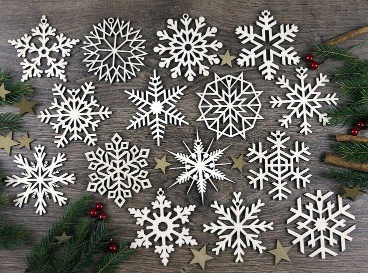 Weihnachtsmaterial - Set von 15x Weihnachten Holz Ornamente Schneeflock - ein Designerstück von KWUD bei DaWanda
