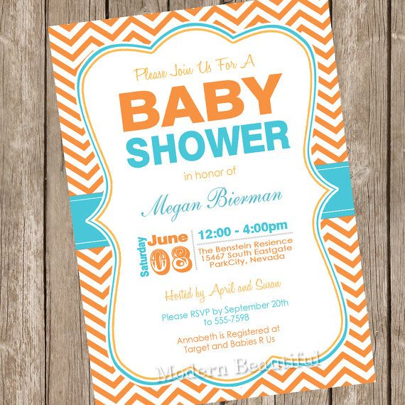 Orange and Teal baby shower invitation