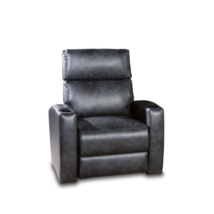 Galaxy Home Theater Seating 2-Arm Power Recliner in Mottled Gray/Charcoal Leather Gel