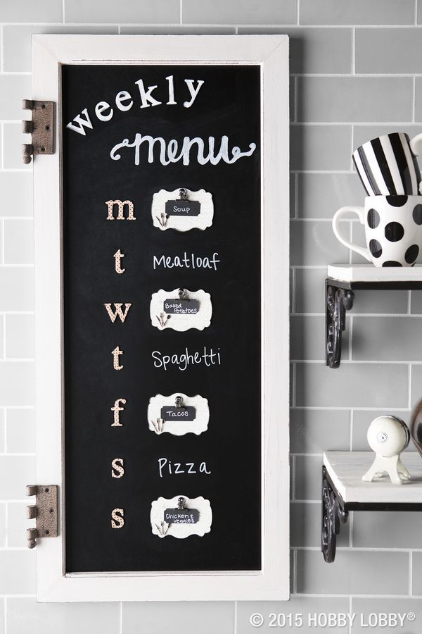 We dressed up this kitchen chalkboard with