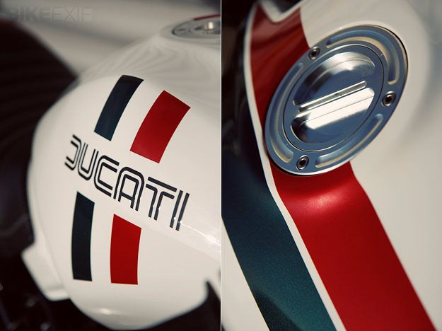 Interested in the new use of the 70's Ducati logo. Tasteful.