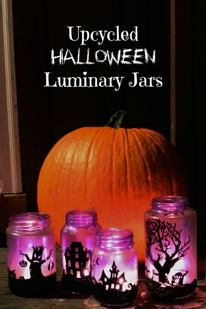 Upcycled Halloween Luminary Jars