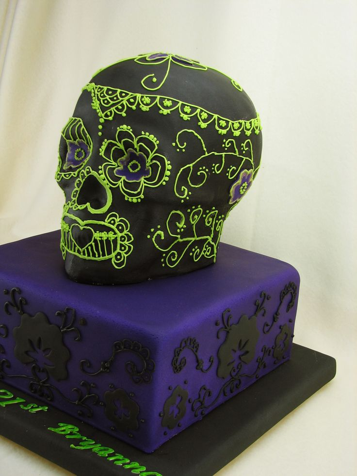 Skull Cake: All chocolate mudcake! Here we have a 9 inch square cake and a carved skull cake decorated in Mexican style. The cakes are filled with chocolate ganache and covered in fondant with some royal icing piping detail.