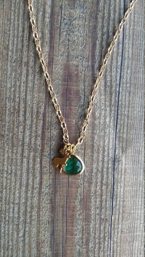 Gorgeous Dainty Stag with emerald green gem by NixieNooDesigns