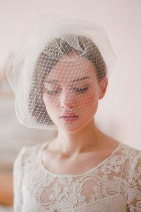 Véus de Noiva Gaze Véu de gota Véus gaiola Vestido