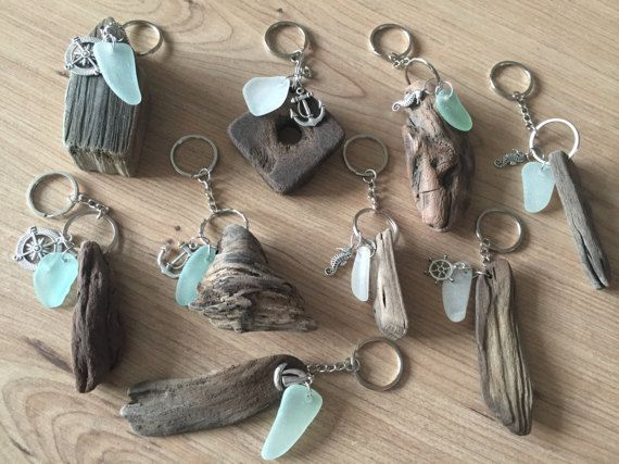 Treibholz-Meer Glas Schlüsselanhänger handgefertigt von Isle