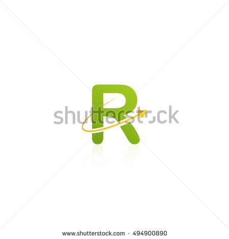 Letter R logo with swoosh and rocket