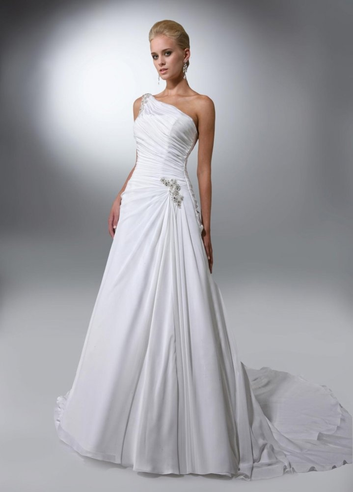 Cool A line One Shoulder Beaded Strap Ruched Bodice Chiffon Wedding Dress wa
