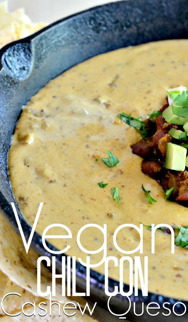 http://Housevegan.com: Chili Con Cashew Queso - This vegan recipe is tried and true, and you pretty much can never go wrong with chili and cashew cheese. It's perfect for fall get-togethers!