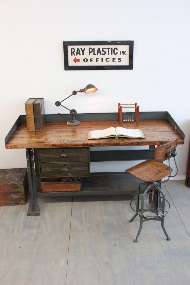 Vintage Industrial Workbench/ Kitchen Island/ Desk - 1940s by DorsetFinds on Etsy https://www.etsy.com/listing/221243896/vintage-industrial-workbench-kitchen
