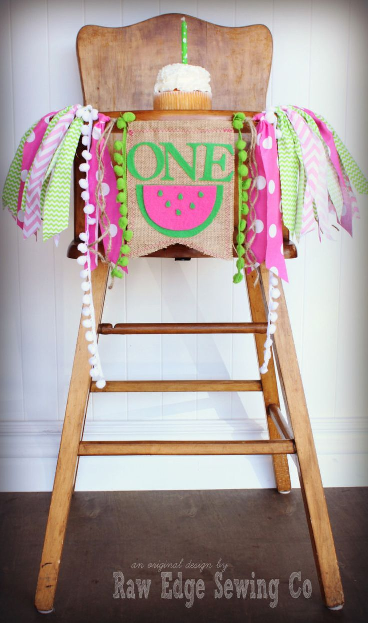 WATERMELON Birthday Age High Chair Highchair Birthday Banner/Party/Photo Prop/Bunting/Backdrop/Chair Banner/Pink/Green/Cake Smash/Summer/One by RawEdgeSewingCo on Etsy https://www.etsy.com/listing/226685265/watermelon-birthday-age-high-chair