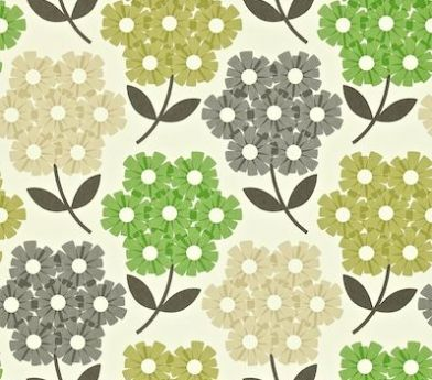 Rhodedendron (110413) - Orla Kiely Wallpapers - Rhodedendron motifs in a simple stylised effect. Shown in shades of green on off white - more colours are available. Please request a sample for true colour match. Paste-the-wall product.