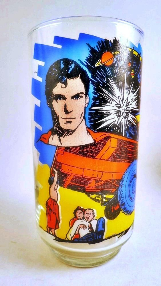 This 1978 drinking glass features Superman the Movie Kal-el Comes to Earth. This is a Pepsi collectible! Dated 1978  Stands 5 1/2 tall.  Very clear with vivid graphics! Youll love it.