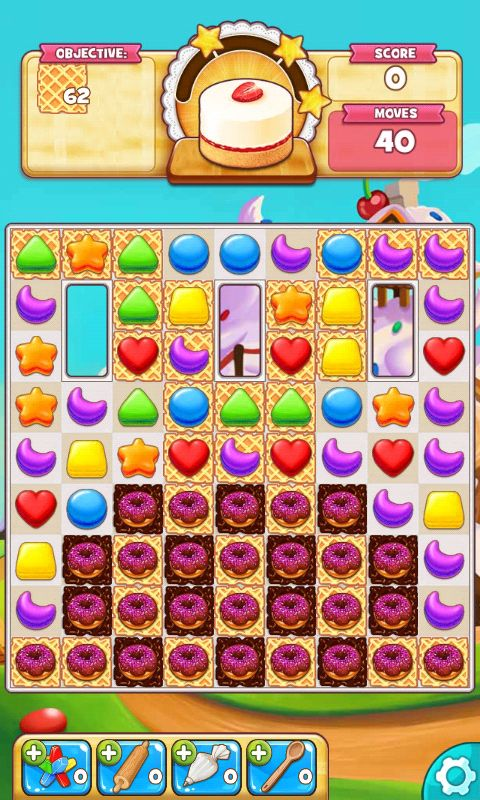 Cookie Jam, Action Phase / Game Play, Break The Waffles - Match 3 Game - iOS Game - Android Game - UI - Game Interface - Game HUD - Game Art