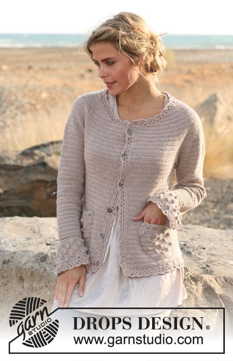"Crochet DROPS jacket with bobbles and lace edges in ""Baby Merino"" or ""BabyAlpaca Silk"". Size S - XXXL"