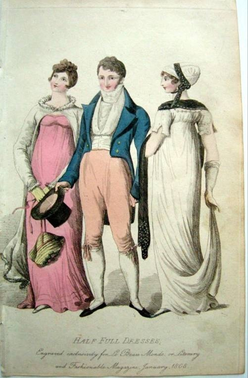 Classic blue jacket and tan breeches for day dress. Le beau monde, 1807